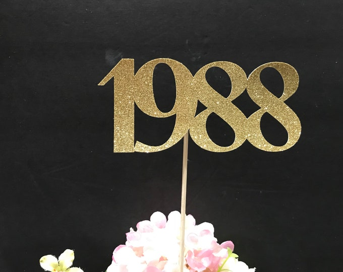 1988 Reunion Table centerpiece sticks, 30th High School Reunion Party Table, Class of 1988 Cutouts, Glitter Class Reunion stick, 1988 sticks