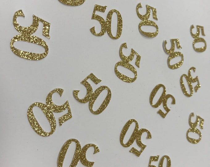 50th Birthday Confetti / 50th Birthday party Decorations / Custom Age Confetti / Number Confetti / 50th Party Supplies/50th Gold glitter