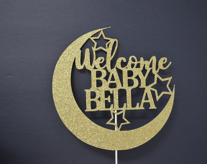 Twinkle Twinkle Little Star Cake Topper - Baby Shower Decorations - Welcome Baby - Cake Topper - moon and stars baby shower