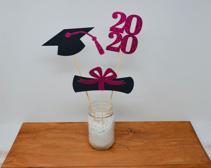Graduation party decorations 2021, Graduation Centerpiece Sticks, Grad ,Cap ,Diploma , class of 2021, Graduation Decoration, prom 2021