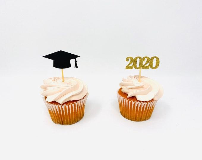 Graduation party decorations 2020, Graduation Cupcake toppers ,2020 Cupcakes, Grad, Cap, class of 2020, Graduation Decoration, prom 2020