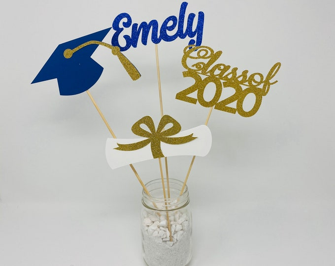 Graduation party decorations 2021, Graduation Centerpiece Sticks, Grad,Cap,Diploma, 2021, custom name centerpiece,Graduation table decor