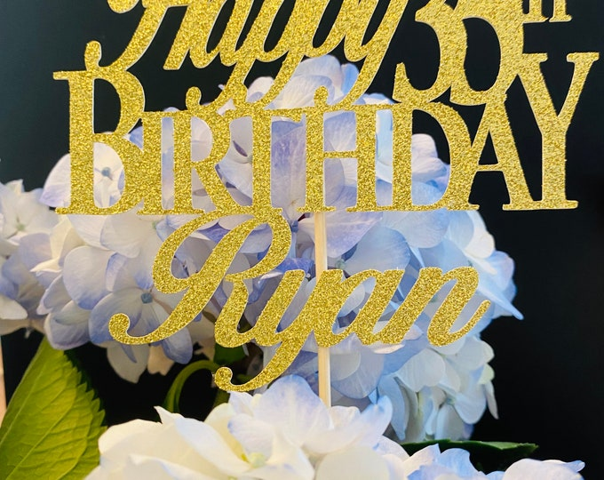 Any Number!, Custom Birthday Cake Topper, 35th Cake Topper, Happy 35th Birthday Topper,  Any number, personalized 35th birthday decorations