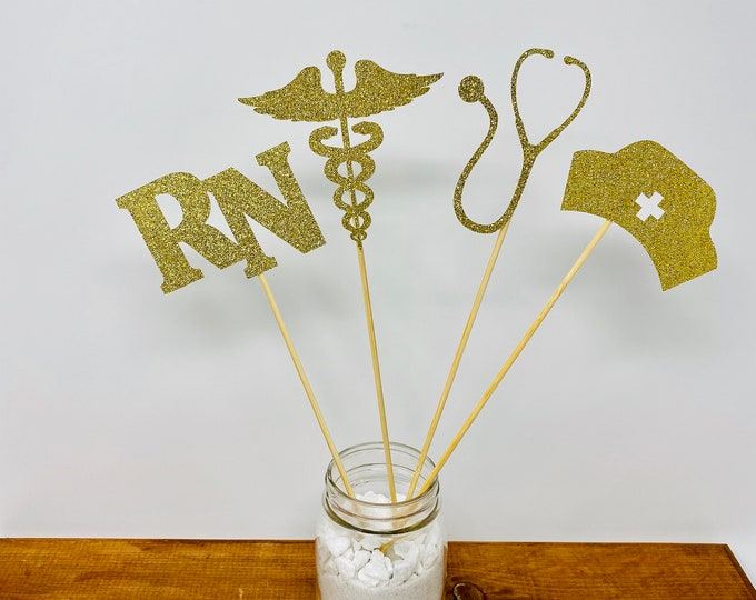 Nurse Graduation centerpiece sticks, Graduation Centerpiece, Graduation Table Decor, Centerpiece,Graduation Party, class of 2020