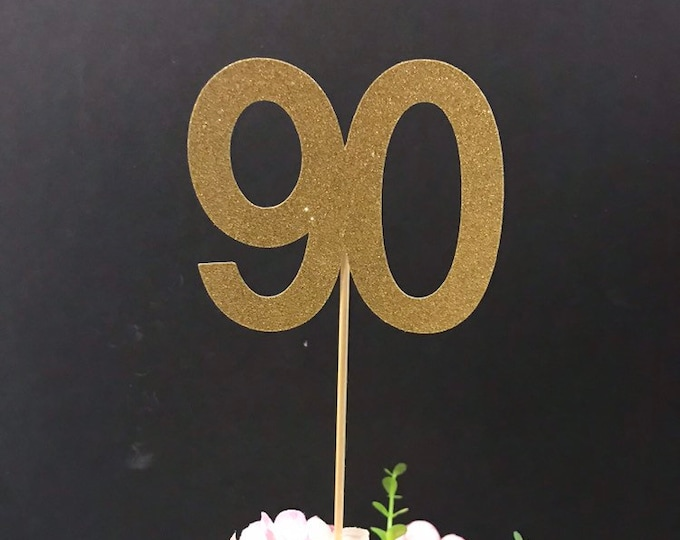 90th Birthday party decorations, 90th Birthday Centerpiece Sticks, Glitter 90th, 90th Birthday Table Decorations, Age Centerpiece, 90 stick