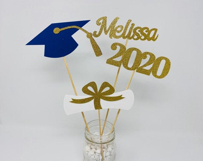 Graduation party decorations 2020, Graduation Centerpiece Sticks, Grad,Cap,Diploma, 2020, custom name centerpiece,Graduation table decor