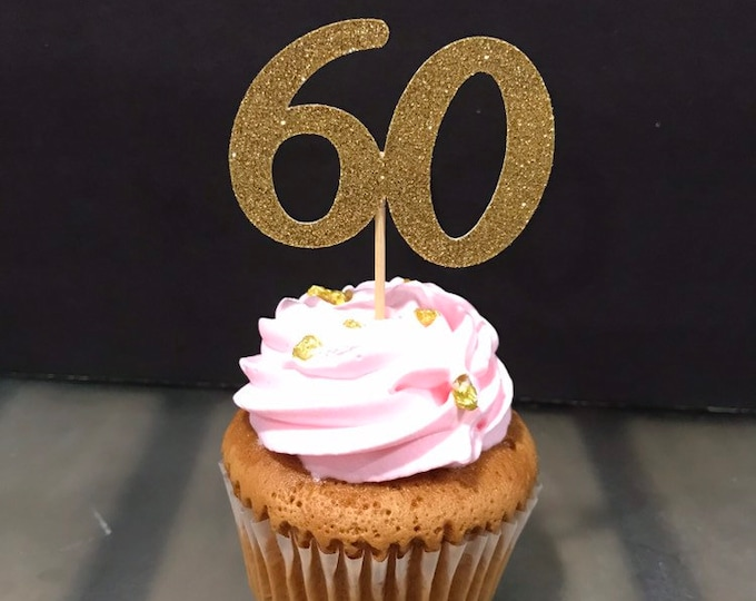 60th Birthday Cupcake Toppers 12 Ct., Glitter 60th Birthday Decoration, 60th Birthday Table Decorations, Age Cutouts, Cupcake Decorations