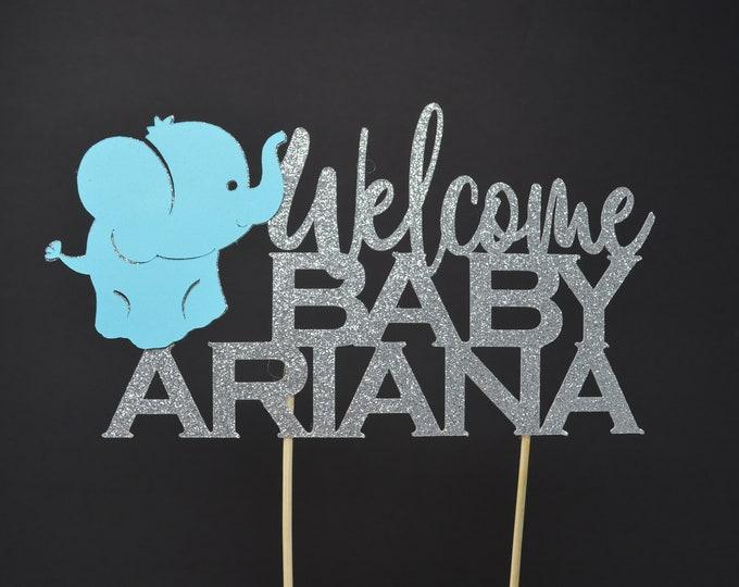 Baby Elephant Baby shower,Boy Elephant,Girl,Elephant baby shower decorations,Blue elephant Cake topper, pink elephant Cake topper