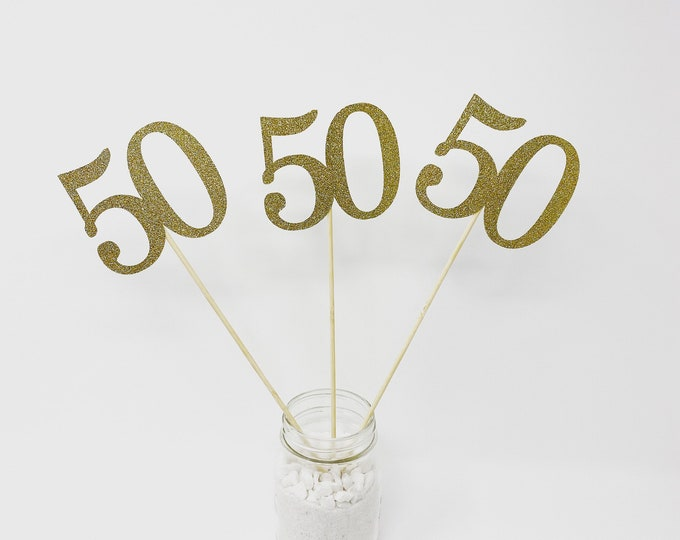 Set of 3 sticks, 50th Birthday Centerpiece Sticks, Glitter 50th Birthday Decoration, 50th Birthday Table Decorations, 50 year reunion