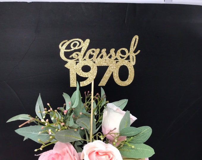 1970 Reunion Table centerpiece sticks, 50th High School Reunion Party Table, Class of 1970 Cutouts, Glitter Class Reunion cutouts, 1970