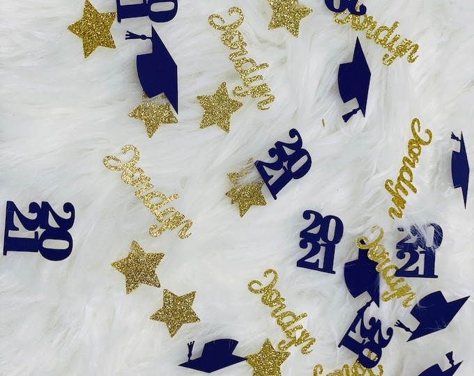 Graduation party decorations, 2021 Graduation glitter name confetti,class of 2021, Graduation name confetti,  personalized confetti 50 ct.