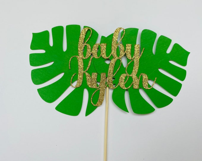 Oh baby Jungle Party Safari Cake topper .  Safari Baby Shower Decoration. Jungle Baby Shower. personalized Name