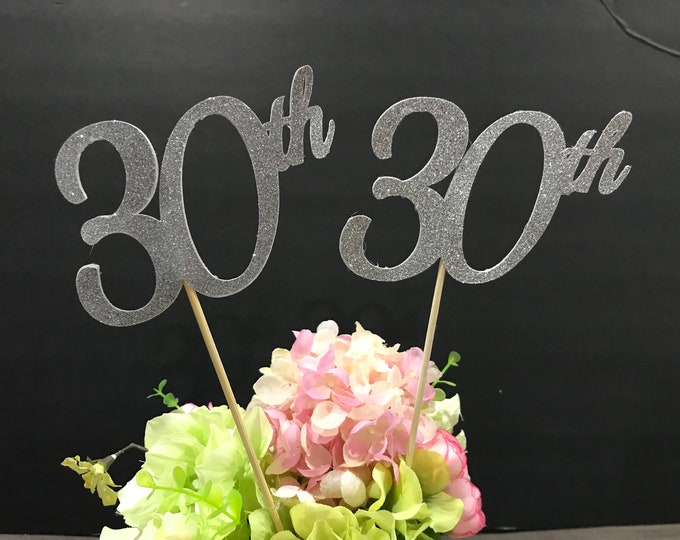 30th Birthday decoration, 30th Birthday Centerpiece Sticks, Glitter 30th Birthday Decoration,30th Birthday Table Decorations,Age centerpiece