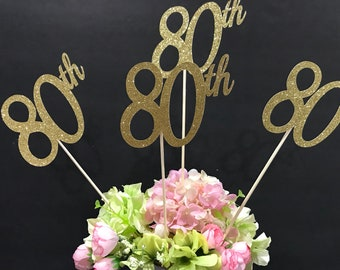 Set Of 3 Sticks 80th Birthday Decorations Centerpiece Glitter 80 Age Anniversary Stick
