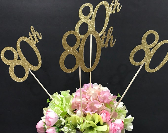 Set of 3 sticks, 80th Birthday Decorations, 80th Birthday Centerpiece Sticks, Glitter 80, 80th Birthday, Age Centerpiece, Anniversary stick