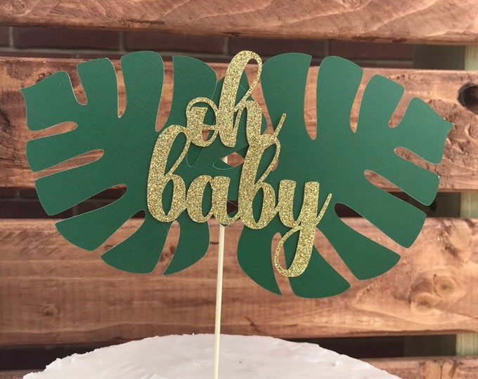 Oh baby Jungle Party Safari Cake topper .  Safari Baby Shower Decoration. Jungle Baby Shower.