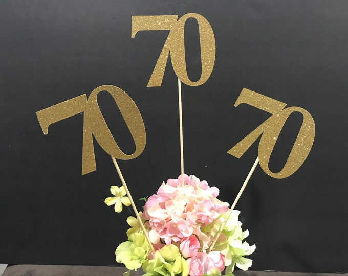 70th Birthday decoration, 70th Birthday Centerpiece Sticks, Glitter 70th Birthday Decoration, 70th Birthday Table, Age sticks, Anniversary