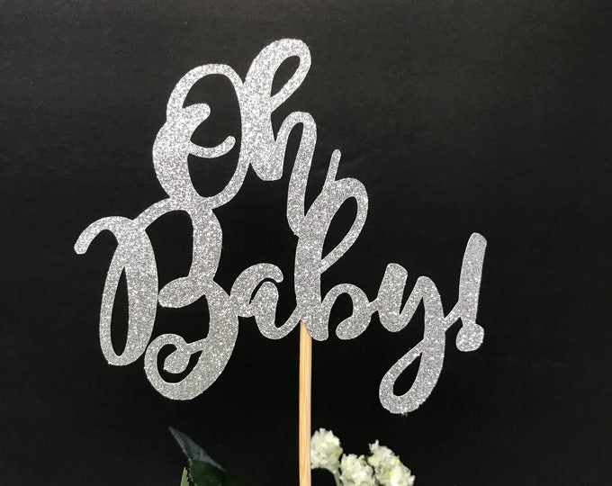 Oh Baby Centerpiece sticks, Baby Shower Glittery Topper, Topper Gender Reveal Party,  Baby Boy Table Decorations, Baby Shower Centerpiece