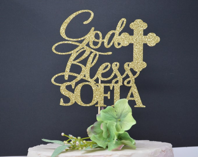 Personalized God Bless Cake Topper, Baptism Cake Topper, Christening Cake Topper, Any name- Cake topper- personalized