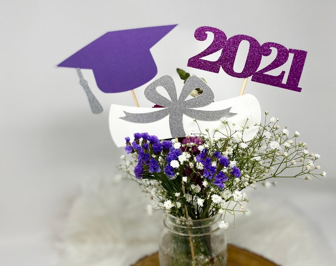 Graduation decorations 2021, Graduation Centerpiece Sticks,  class of 2021, Graduation Party Decorations, Graduation Party Decor, 2021 decor