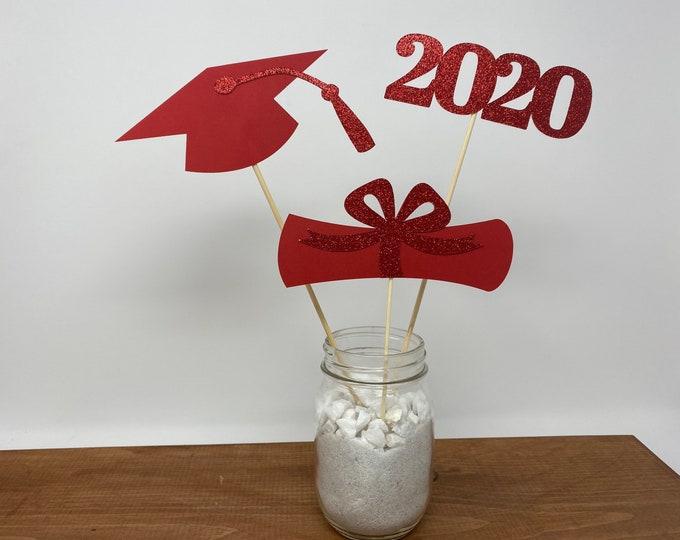 Graduation party decorations 2021, Graduation Centerpiece Sticks, Grad ,Cap ,Diploma , class of 2021, graduation decorations, prom 2021