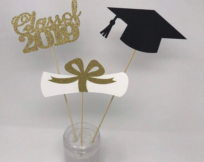 Graduation party decorations 2021, Graduation Centerpiece Sticks, Grad ,Cap ,Diploma , class of 2021, Graduation Decoration, prom 2021