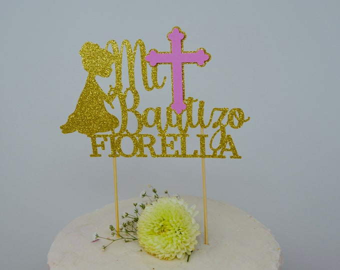Baptism Cake topper-Baptism Decor-First Communion -Christening Centerpieces-Baptism Cross Centerpieces- Mi Bautizo Cake topper- personalized