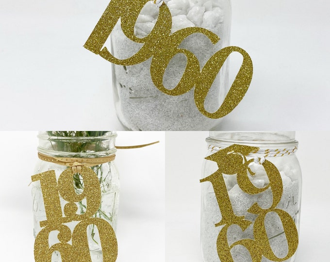 1960 Mason Jar Tags, Class Reunion 1960, Class Reunion Centerpiece, Class of 1960 Decoration, Class Anniversary, Prom, School, University