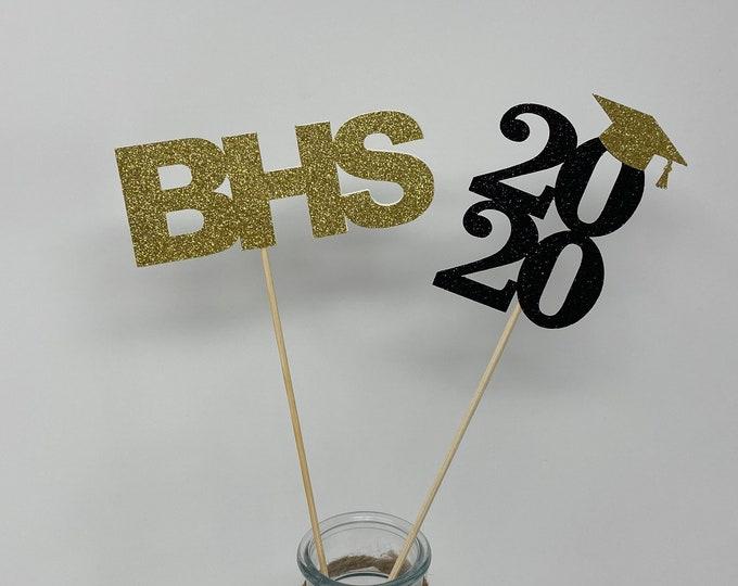 Graduation decorations 2020, Centerpiece Sticks ,class of 2020,  School Initials,Custom Centerpiece Picks, Personalized Grad Decorations