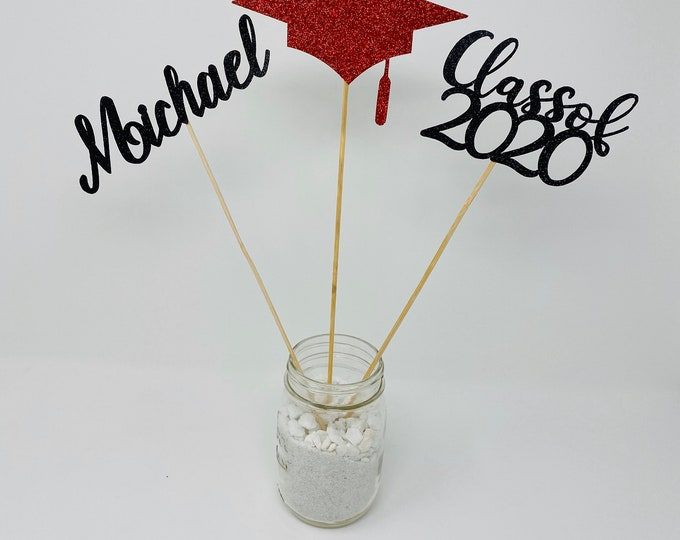 Graduation party decorations 2020, Graduation decoration 2020, class of 2020, prom 2020, name centerpiece, personalized name sticks