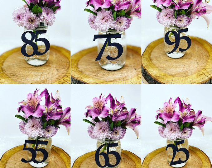 50th Birthday Centerpiece , Glitter 50th Birthday Decoration, 50th Birthday Table Decorations, Age Cutouts, 50 Mason jar tags