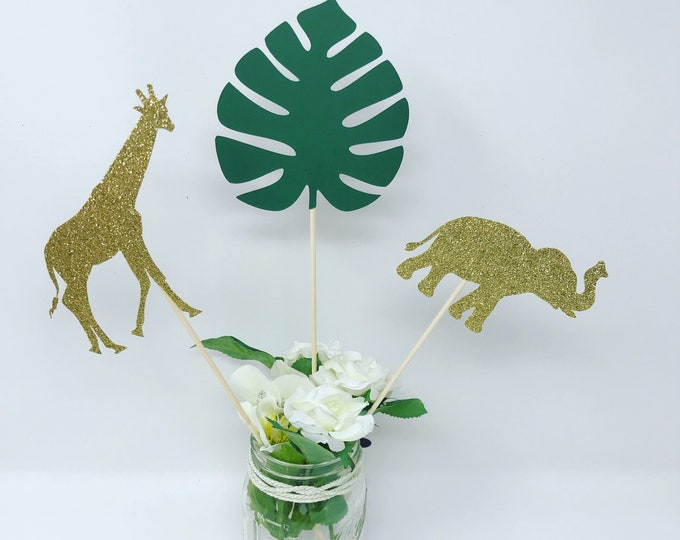 Jungle Party Safari Centerpiece,  (1 set of 6 centerpiece sticks ), Safari Baby Shower Decoration, Jungle Baby Shower
