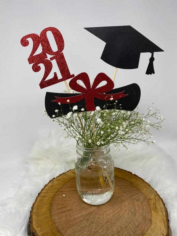 Diploma class of 2021 prom 2021 Cap Graduation party decorations 2021 Grad Graduation Centerpiece Sticks Graduation Decoration