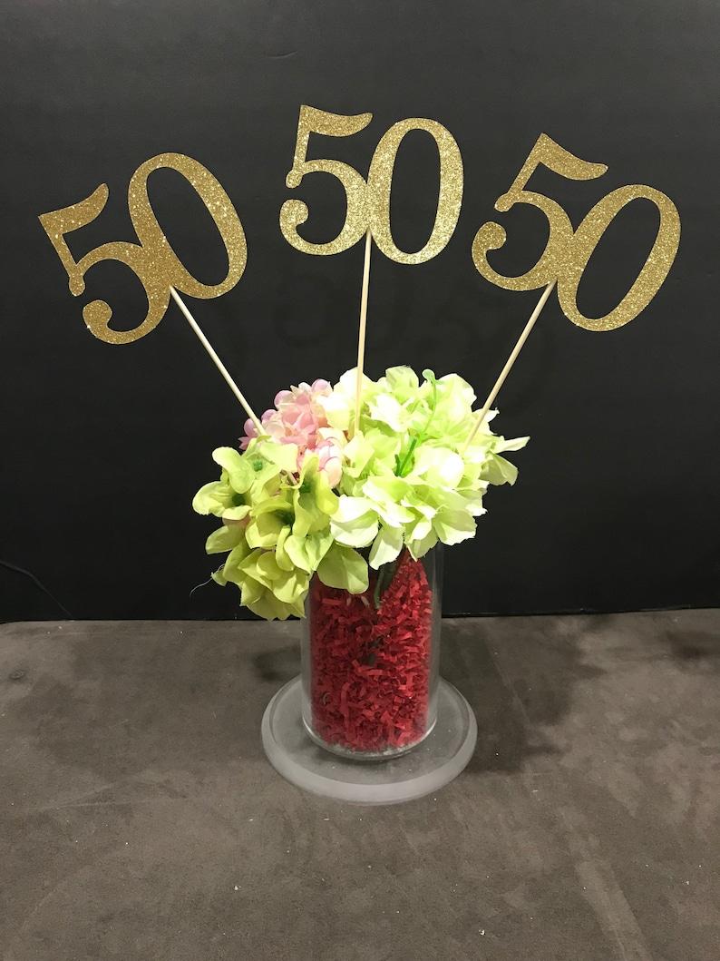 Set Of 3 Sticks 50th Birthday Centerpiece Glitter