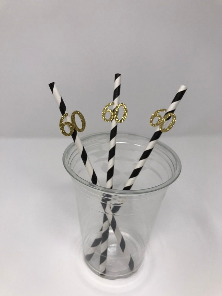60th Birthday Decoration Black And Gold Straws For Party 12CT Glitter Decorations Table Decor