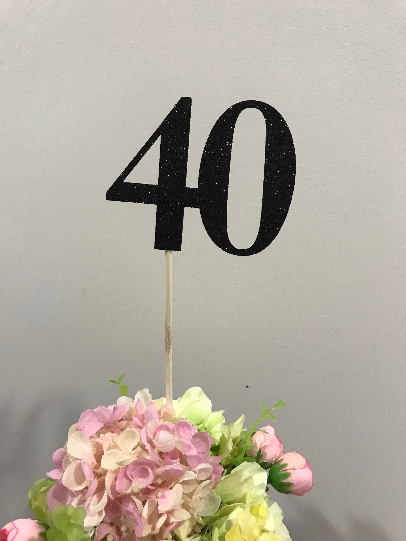 Set Of 3 Sticks 40th Birthday Centerpiece Glitter Decoration Table Decorations Age Cutouts