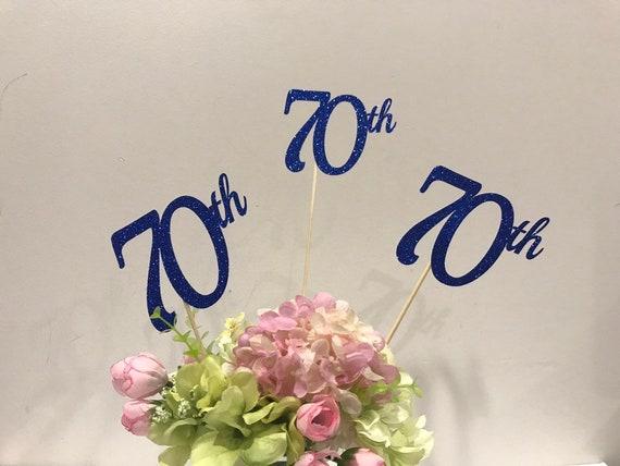70th Birthday Decorations Centerpiece Sticks Glitter