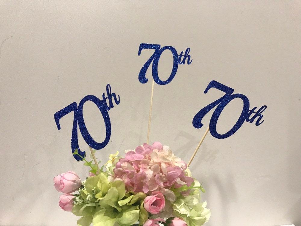70th Birthday Decorations Centerpiece Sticks Glitter Decoration Table Age Cutouts