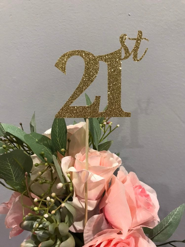 Set Of 3 Sticks 21st Birthday Decorations Centerpiece Glitter 21 Table Anniversary Stick