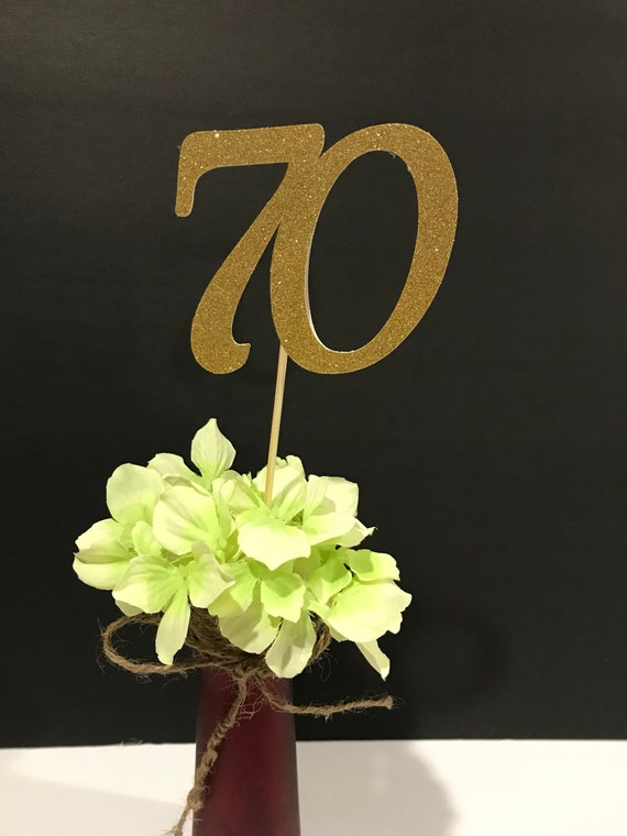 Gold and Silver 70th Birthday Party Table Centrepiece