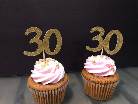 30th Birthday Cupcake Toppers 12 Ct Glitter Decoration Table Decorations Age Cutouts