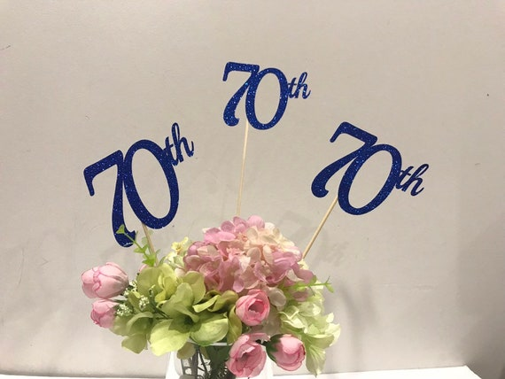 70th Birthday Decorations Centerpiece Sticks Glitter