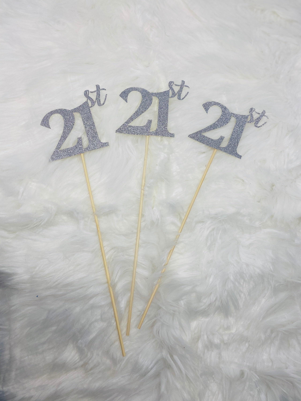 Set Of 3 Sticks 21st Birthday Decorations 21st Birthday Centerpiece Sticks Glitter 21 21st Birthday Table Decorations Anniversary Stick