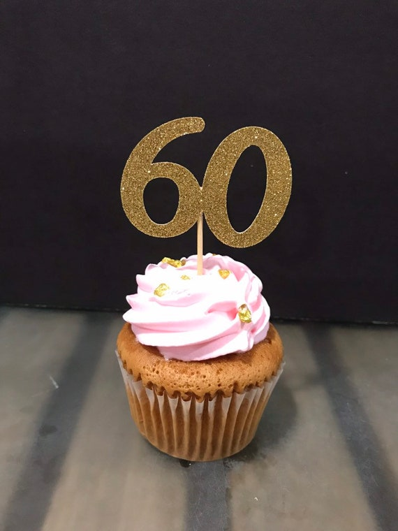 60th Birthday Cupcake Toppers 12 Ct Glitter