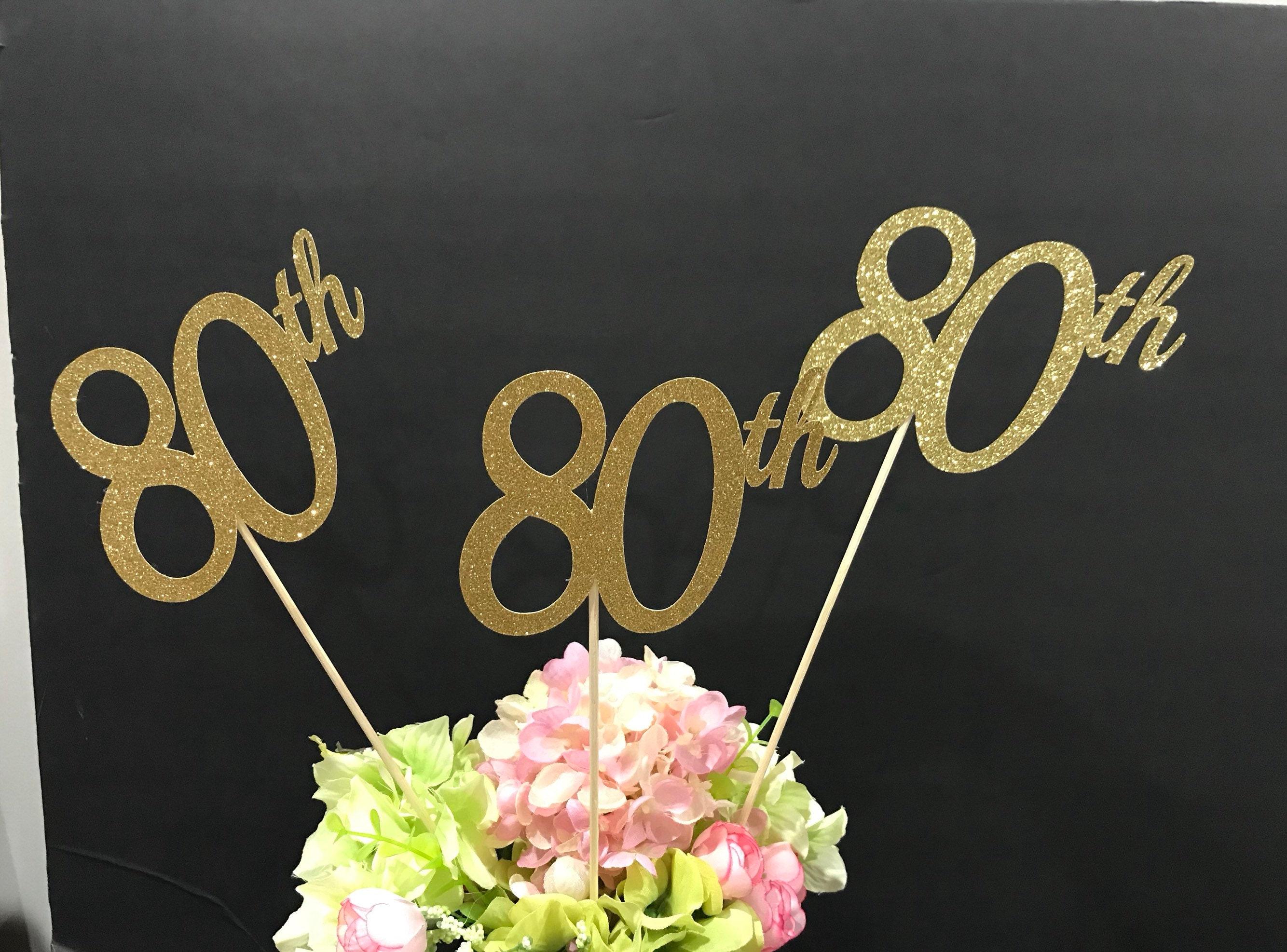 80th Birthday Decorations Centerpiece Sticks Glitter 80 Table Age Anniversary Stick