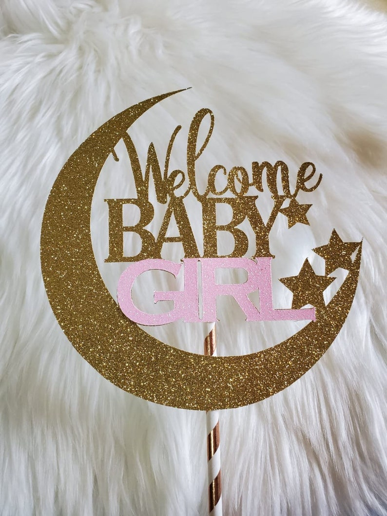 Baby Shower Decorations Welcome Baby Cake Topper Twinkle Twinkle Little Star Cake Topper moon and stars baby shower