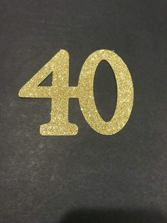 40th Birthday Cutouts Gold Black Or Silver Glitter