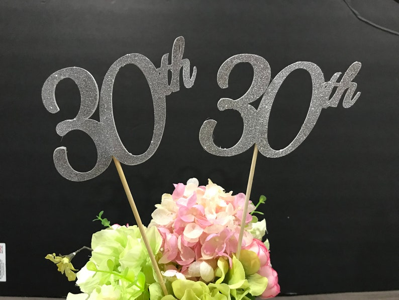 30th Birthday Decoration Centerpiece Sticks Glitter Decoration30th Table DecorationsAge