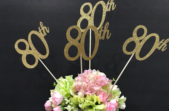 80th Birthday Decorations Centerpiece Sticks