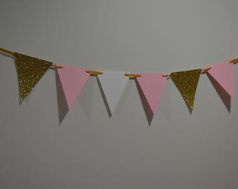 Blush Pink, Gold, & White Pennant paper Banner - Bunting, Party Decoration, Photo Prop